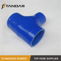 blue High Pressure T-shape Silicone rubber Hose